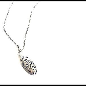 Lois Hill Sterling Silver Ornate Pendant Necklace